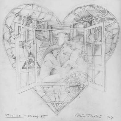 True love sketch xv b pencil on tracing paper 35 x 34cm 2014
