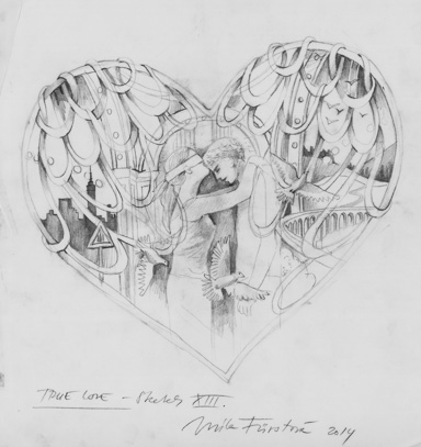 True love sketch xiii pencil on tracing paper 26 x 28cm 2014